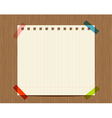 Lined paper of notebook on wooden wall insert your vector image vector image