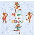 Merry and bright card with cute reindeers vector image vector image