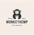 monkey cannabis hipster vintage logo icon vector image vector image