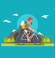 mountain ride bicycle geek hipster ycling travel vector image vector image