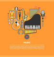 musical instruments formed in heart isolated vector image vector image