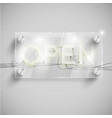 open behind a glass table vector image vector image
