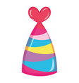 party hat with lines and heart decoration vector image vector image