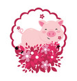 pig with flower vector image