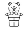 polar bear with gift box celebration merry vector image vector image