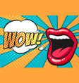 pop art mouth with wow bubble vector image