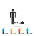 prisoner with ball on chain icon isolated vector image vector image