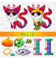 Red magic cat with toys and clothing vector image vector image