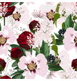 red roses and pink peony flowers pattern vector image vector image