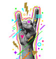 rocknroll or heavy metal hand sign two fingers vector image