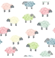Seamless pattern with colored sheeps vector image vector image