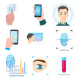 set biometric modern icons technology in vector image