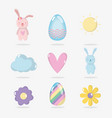 set happy easter holiday design vector image