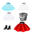 set of skirts striped t-shirts and boots vector image