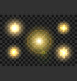 set sun with glow light effect on transparent vector image vector image