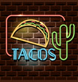tacos neon advertising sign vector image vector image