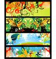 vintage floral banners set vector image vector image