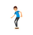 young man riding skateboard sport and physical vector image