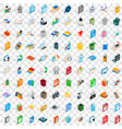 100 multimedia icons set isometric 3d style vector image