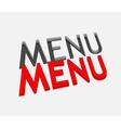 3d menu text design vector image vector image