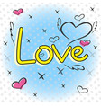 a sketch of hearts with wings and inscriptions vector image vector image