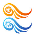 air conditioning sun and snowflake abstract symbol vector image vector image