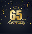 anniversary celebration design with gold confetti vector image vector image