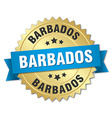 Barbados round golden badge with blue ribbon vector image vector image