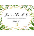 botanical wedding floral save the date invite vector image vector image