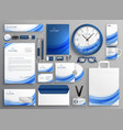 brand identity business stationery set in blue vector image vector image