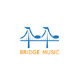 bridge with music notes design template vector image