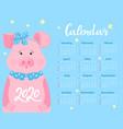 calendar for 2020 week start on sunday cute pig vector image