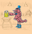 cancer character is with a beer in his hat vector image vector image