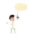 cartoon happy scientist with speech bubble vector image