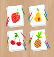 child drawing fruit doodles vector image vector image