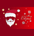 christmas day red background santa claus paper vector image