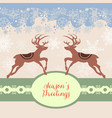 christmas deers greeting card label for text vector image vector image