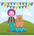 circus clown funny with bear in stage vector image
