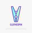 clothespin thin line icon vector image vector image