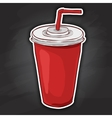 Cola cup color picture sticker vector image vector image