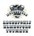 decorative serif font in biker style vector image vector image