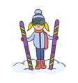 Doodle skier vector image vector image