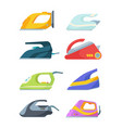 electric irons set modern ironing and drying vector image vector image