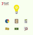 flat icon finance set of calculate bubl cash and vector image vector image