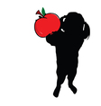 girl with apple in hand silhouette vector image