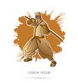 gold ninja and sword vector image vector image