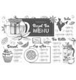 hand drawing artistic restaurant royal tea menu vector image