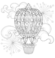Hand drawn doodle outline air baloon in flight vector image