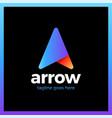 letter a line top arrow logo vector image vector image