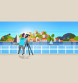 man travel photographer taking nature picture of vector image vector image